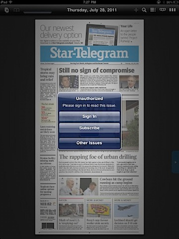 Star Telegram iPad app first screen