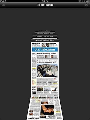Star Telegram iPad app issue browser
